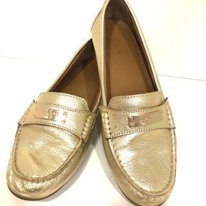 COACH Fredrica Light Gold Pebbled Leather Loafer
